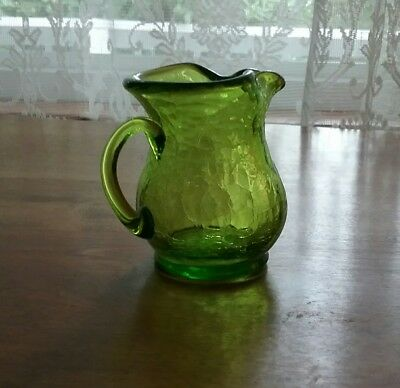 Vintage Green Hand Blown Crackle Glass Mini Pitcher with Applied Handle 3""