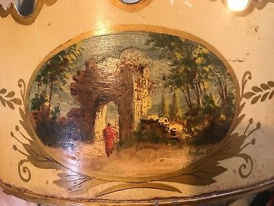 Vintage French TOLE Toleware Hand Painted JARDINIERE Cache Pot * Made in FRANCE