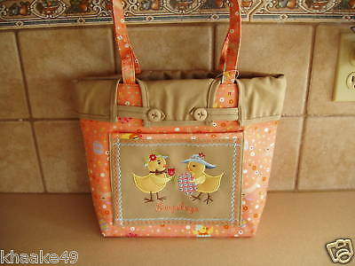 Longaberger Easter Fields Shopper Tote Bag Purse Khaki Liner * Nip Free Shipping