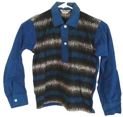 Vintage Tom Thumb Sanforized Size 10 Long Sleeve Shirt Pull Over Collar + Button