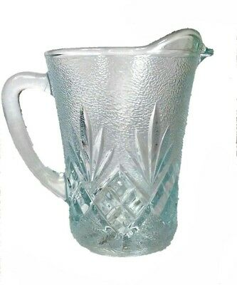 Vintage Clear & Frosted Glass Diamond Prescut Ice Design Creamer