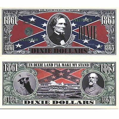 Dixie Million Dollar Bill **Novelty Money** FREE Sleeve