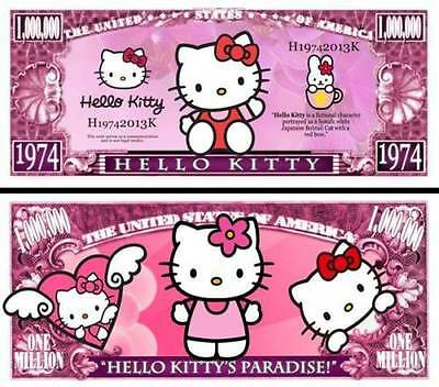 Hello Kitty Million Dollar Bill **Novelty Money** FREE Sleeve