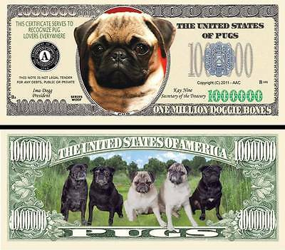 Pug Dog Million Dollar Bill **Novelty Money** FREE Sleeve