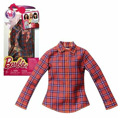 Barbie Doll Fashion Red Blue Plaid Shirt Long Sleeve Top Blouse Clothing New