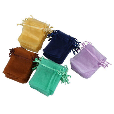 100 x Organza Wedding Favour Gift Candy Bags Jewellery Pouches 7CM*9CM P4Y8