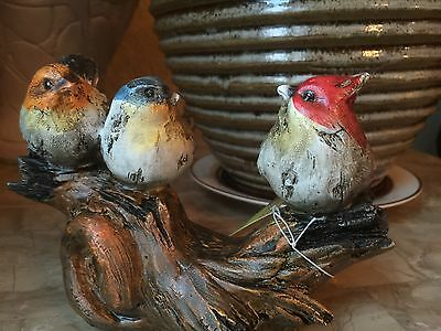 Resin Three Little Colorful Birds On A Branch. Beautiful Home Accent