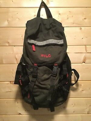 VINTAGE FILA BACKPACK Hiking Rucksack Green And Red -  30.00