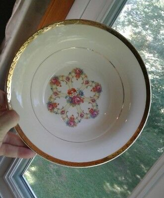 """American Limoges Fortune 22 KT Gold 1LC422 Bowl Round Vegetable Serving 8 3/4"""""""