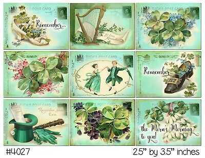 9 Vintage St Patrick's Day Postcard Hang Tags Scrapbooking Paper Crafts (148)