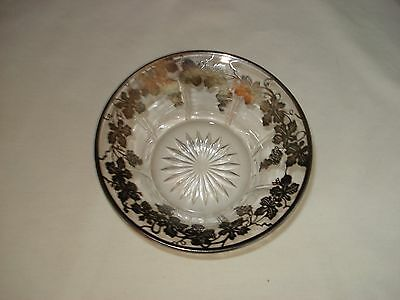 "Vintage Heisey Glass Bowl Silver Overlay Grape Clusters & Leaves 1-5/8"" H"
