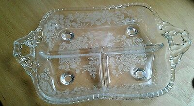 Tray New Martinsville Crystal Relish Etched Flower Baskets 3 Sections 12.75 x 8