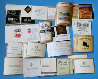 140 California Wine Labels Brand New Unused 20 Different Labels Lot