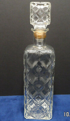 Vintage Clear Glass Liquor Decanter with Glass Stopper Diamond Pattern