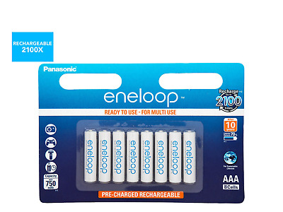 8x Panasonic Eneloop AAA Rechargeable LSD NiMH Batteries - 4th Gen Made in Japan