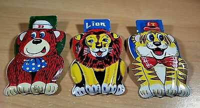 Vintage Set of 3 Circus Animal Clickers Lion, Tiger & Bear made in Japan Litho