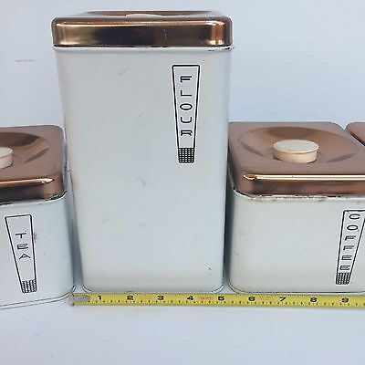 Set Mid Century Modern Chrome Kitchen Tins Canisters USA