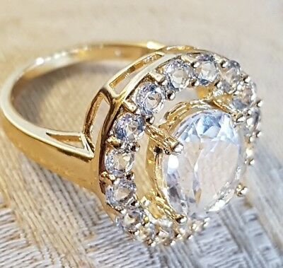 Vintage Vermeil Gold over Sterling Silver White Topaz Halo Ring Chinese Export