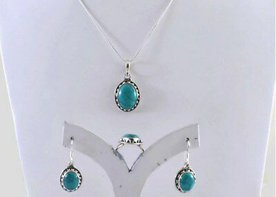 Turquoise Gemstone 925 Sterling Silver Ring, Pendant & Earring Jewelry Set
