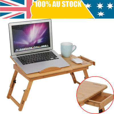 Multi Function Bamboo Laptop Bed Desk Table Foldable Cooling Hole Holder W/Tray