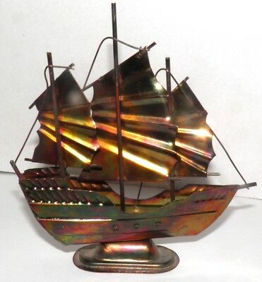 Vintage Copper Plated Steel Chinese Junk Ship Boat Naval Sailboat Statue Figure