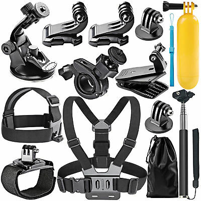 Go pro Accessories Set Kit 12 in 1 for Gopro Hero 5 4 Monopod Head Chest Strap
