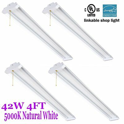 4PCS 4Ft 40W 5000k LED Garage Work Shop light Fixture Hanging with Pull Chain MX