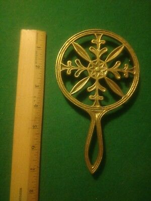 Vintage Solid Brass Metal Round with Leaves and Flower Design Hot Plate Trivet