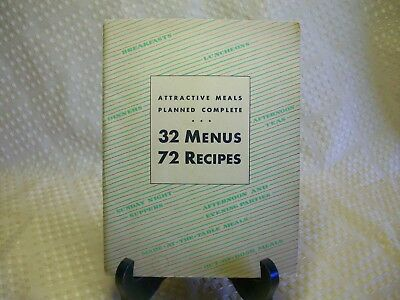 VINTAGE 1931 Rumford Baking Powder 32 Menus 72 Recipes Planned Meals BK19
