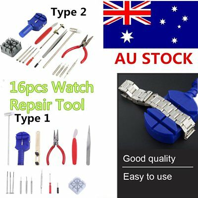 16pcs Watch Repair Tool Kit Band Pin Strap Link Remover Back Opener Hand Tool AU