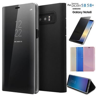Luxury Mirror View Slim Flip Case Stand Cover for Samsung Galaxy S9 S8+ Note 8/9