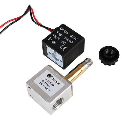 """12V DC 1/4"""" 2 Way Pneumatic Aluminum Electric Solenoid Air Valve Normally Closed"""