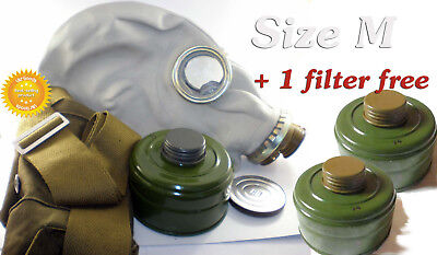 Size-2 + 3 filters. Medium Soviet Russian Military Gas mask GP-5 Grey rubber