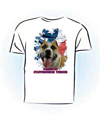 American Staffordshire Terrier tan & white PERSONALIZED  Stars & Stripes T shirt