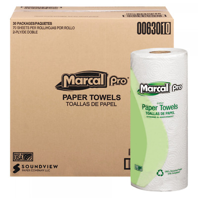 Marcal PRO 100% Premium Recycled Towels, 2-Ply, White, 70/Roll, 30 Rolls/Carton