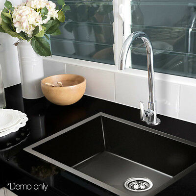600x450mm Handmade Single Nano Sink 304 Stainless Steel Kitchen Laundry Black