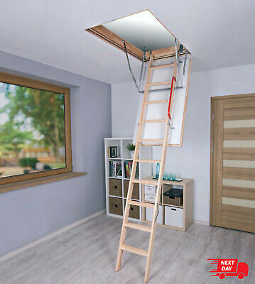 Optistep Wooden Folding Loft Ladder & Hatch - Insulated Trap Door, Attic Stairs