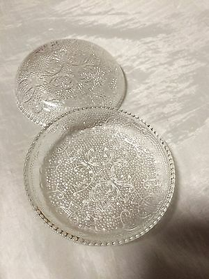 """2 Vintage Glass Candlewick  Bowl  Ring Plates 3 1/4"""" Gold Edges"""