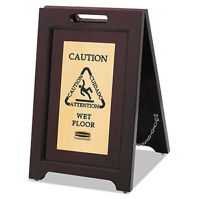 Executive 2-Sided Multi-Lingual Caution Sign, Brown/Brass, 15 x 23 1/2