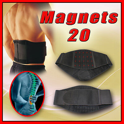 20 Magnetic Back Support Lower Lumbar Brace Belt Stap Waist Backache Uk