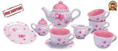 Butterfly Porcelain Toy Pink White fairies Party Tea Set for Kids New
