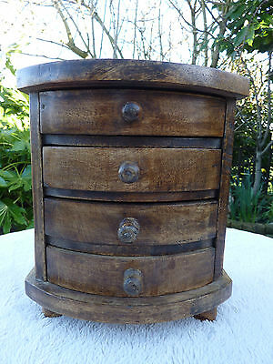 Quality Arts And Crafts Style Wooden Miniature Curved Drawers Old Jewellery Box