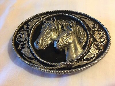 Reduced 1991 Siskiyou Buckle Co. Inc. Williams Oregon Two Horses Belt Buckle