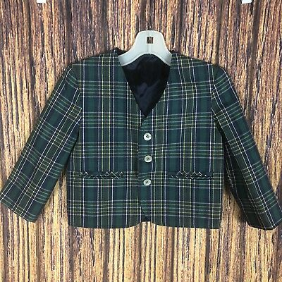 Vintage Jack Tar Green Plaid Blazer Size 2 Boys St Patrick's Day Button Down 2T