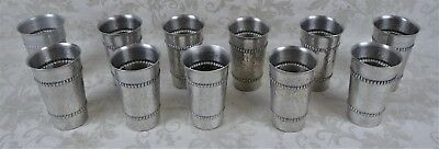 Lot of 11 Vintage Hammered Aluminum Tumbler Cups Unique Embossed Pattern