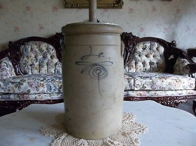 Antique Stone Glazed Primitive Bee Sting Heavy  Butter Churn Crock Display Great