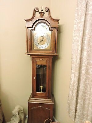 Vintage  Daneker Grandmother/Grandfather Floor Clock Cherry Wood