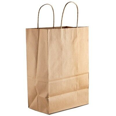 100 Retail Paper Shopping Bag 9x5x13 KRAFT with Rope Handle Plain Natural
