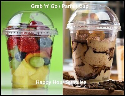 Pack of 25 Grab 'n' Go / Parfait Cup, Clear PET Plastic 12 oz Cup w/ Dome Lid