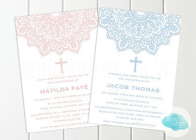 20% OFF! Personalised Boy / Girl Christening / Baptism / Naming Day Invitations